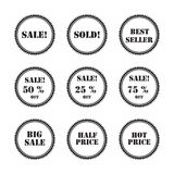 Set black labels and stickers Stock Photos