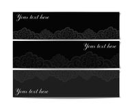 Set of black lace banners Stock Photos