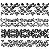 Set of black lace borders isolated on white background vector illustration