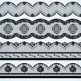 Set of black lace ribbons Royalty Free Stock Photos