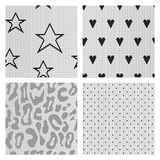 Set of black lace vector fabric seamless patterns. Stock Images
