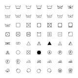 Set of black laundry symbols on white background,  illustration Stock Image