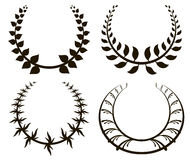 Set of black laurel wreath on white background Royalty Free Stock Image