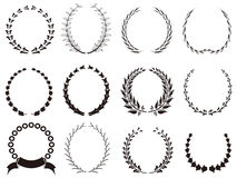 Set of black Laurel Wreaths royalty free illustration