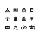 Set of black law and justice icons Stock Image