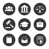 Set of black Law and Justice Icons. Vector Illustration Royalty Free Stock Photography