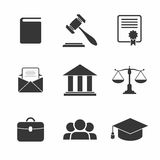 Set of black Law and Justice Icons. Vector Illustration Stock Image