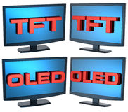 Set of black Lcd tv monitor on white background. Computer generated 3D photo rendering Stock Photography