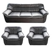 Set of the black leather sofa Stock Photo