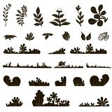 0716_3 Set of black leaves. Set of black leaves design elements isolated on white background. This image is a vector illustration Stock Photo