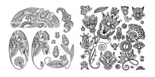 Set of black line floral design elements in henna style. Isolated on white background, vector illustration Stock Image