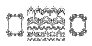 Set of black line floral design elements in henna style. Isolated on white background, vector illustration Stock Photo