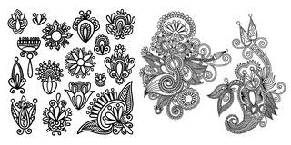 Set of black line floral design elements in henna style. Isolated on white background, vector illustration Royalty Free Stock Image