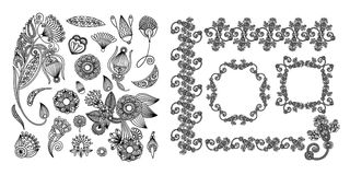 Set of black line floral design elements in henna style. Isolated on white background, vector illustration Royalty Free Stock Photography
