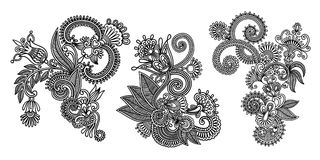 Set of black line floral design elements in henna style. Isolated on white background, vector illustration Royalty Free Stock Photos