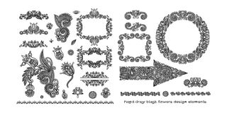 Set of black line floral design elements in henna style. Isolated on white background, vector illustration Stock Photos