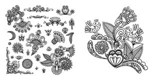 Set of black line floral design elements in henna style. On white background, vector illustration Royalty Free Stock Images