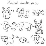 Collection set of cute animal doodle vector Stock Image