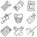 Set of black line icons for paintball Royalty Free Stock Photo
