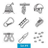 Set of black line icons for rock climbing Stock Image