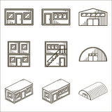 Set of black line vector icons for modular buildings on white. Background Stock Photo