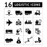 Set of black logistic icons Stock Photo