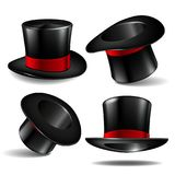 Set of black magician cylinder hats. With red ribbon. Magic hats isolated on white background. Vector illustration Stock Photography
