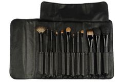 Set of black makeup brushes isolated on white Royalty Free Stock Photos