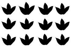 Set black maple leaves isolated on white background. Set black maple leaves bird isolated white background stock illustration