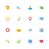 Set of 16 black material design flat web icons Stock Photography