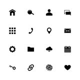 Set of 16 black material design glyph web icons. Vector illustration for web design, user interface UI and infographic Royalty Free Stock Photos