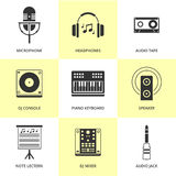 Set of black music and sound icons. Stock Images