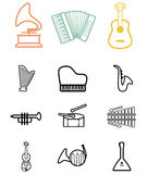 Set of black musical instruments icons. Royalty Free Stock Photo