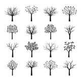 Set Black naked Trees without Leaves. Vector Illustration Royalty Free Stock Images