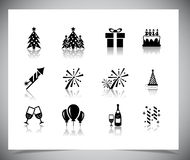 Set of black new year icons. Royalty Free Stock Image