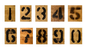 Set of black number on wood. Separated on white background Stock Photography