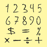 Set of black numbers, mathematical signs. Figures drawn scruffy Stock Photo
