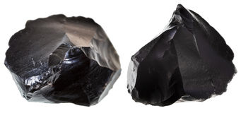 Set of black obsidians Stock Photos