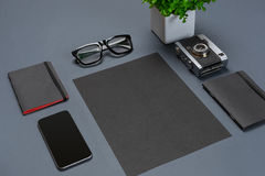 A set of black office accessories, glasses, green flower and smart on gray background Stock Photography