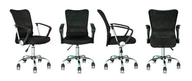 Set of black office chair on white background Royalty Free Stock Photo