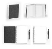 Set of black open and closed notebooks with pen Stock Image