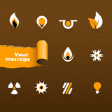 Set of black and orange icons. Stock Photos