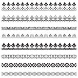 Set of black ornate borders. Pattern brushes are included Stock Image