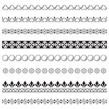 Set of black ornate borders. Pattern brushes are included Royalty Free Stock Photos