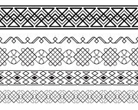 Set of black ornate borders. Pattern brushes are included in vector file stock illustration