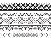 Set of black ornate borders. Royalty Free Stock Images