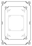 Set of black ornate borders, various shapes and stroke weights. A4 page proportions and square Stock Images