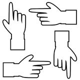 Set of black outline contour silhouette of hand with pointing finger. Black outline contour silhouette of hand with pointing or showing in various directions Royalty Free Stock Photography