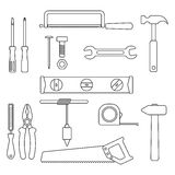 Set of black outline tools. Isolated on white background. trendy modern vector illustration Royalty Free Stock Image