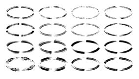 Set of black oval empy grunge frames. Vector illustration. royalty free illustration